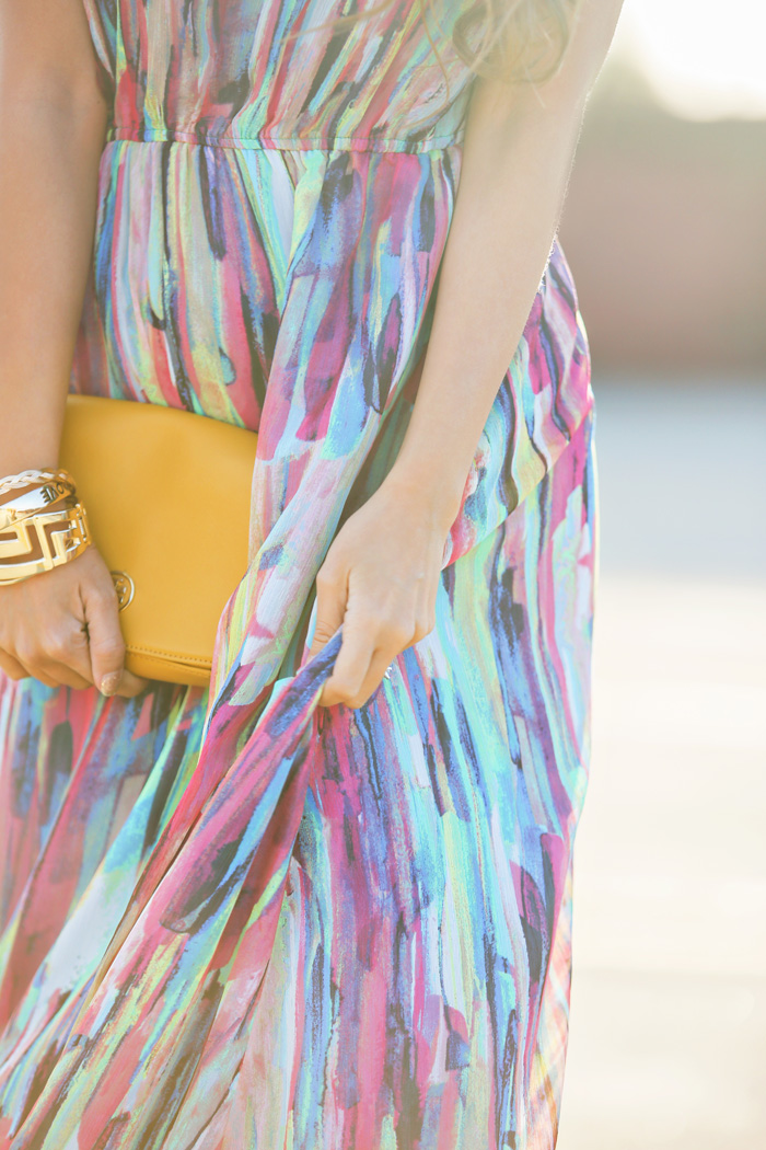fashion blogger, petite fashion blog, fashionista, lace and locks, los angeles fashion blogger, colorful maxi dress, bb dakota maxi, tory burch yellow clutch, fashionista, spring maxi