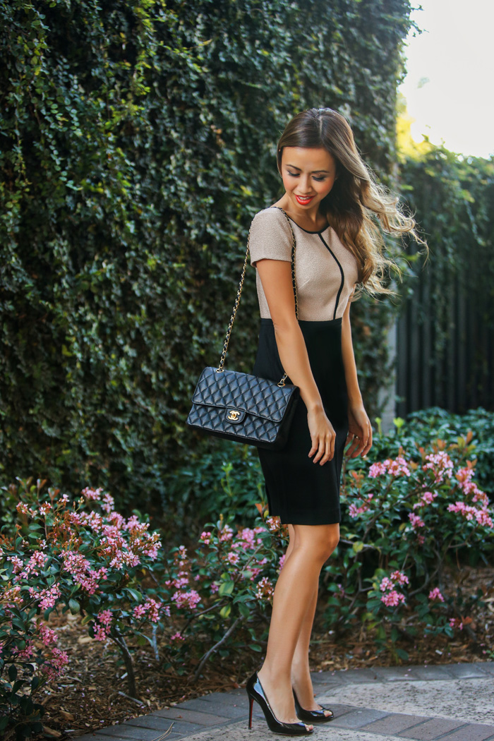 fashion blogger, petite fashion blog, fashionista, lace and locks, los angeles fashion blogger, ann taylor, dress, office fashion, chanel handbag, christian louboutin, affordable fashion