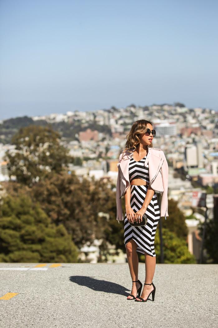 blogger de moda petite, blog de moda petite, fashionista, encajes y cerraduras, los angeles fashion blogger, blogger de moda de San Francisco, ciudad de la moda, la moda de primavera, moda asequible, streetstyle, zara chaqueta de color rosa, a juego y falda, traje de raya, falda lápiz de la raya