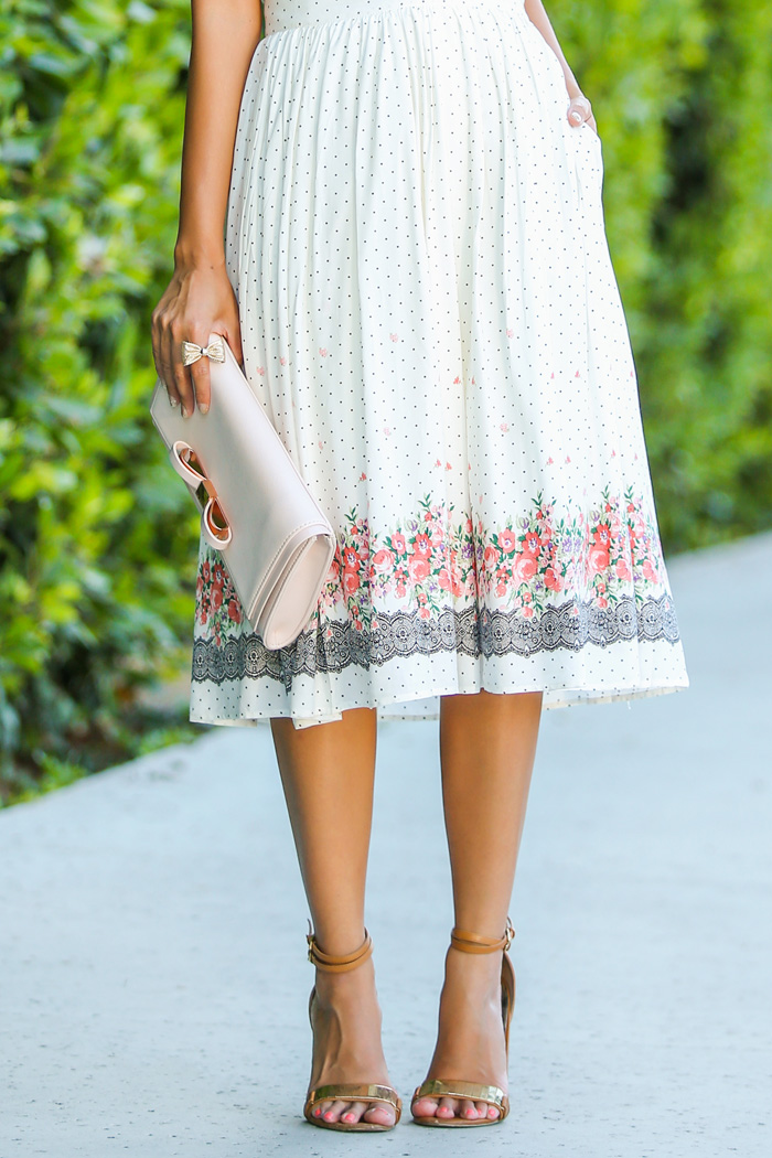 fashion blogger, petite fashion blog, fashionista, lace and locks, los angeles fashion blogger, polka dot midi skirt, morning lavender skirt, stylish petite, morning lavender pop-up shop, ted baker clutch, nordstrom anniversary sale