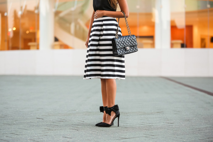 White and black striped midi skirt – Modern skirts blog for you