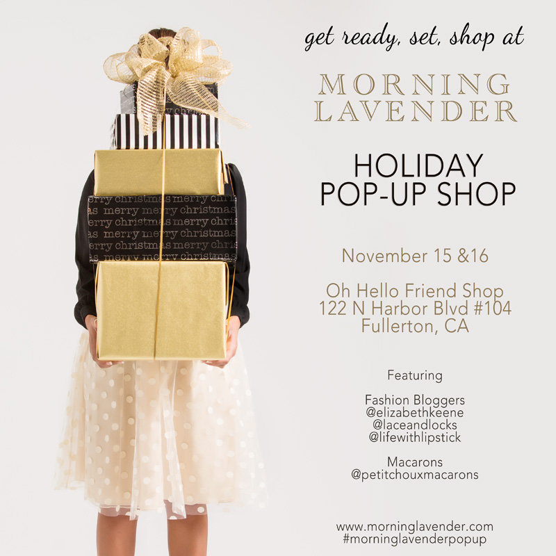 morning lavender holiday popup, pop up shop, holiday sale