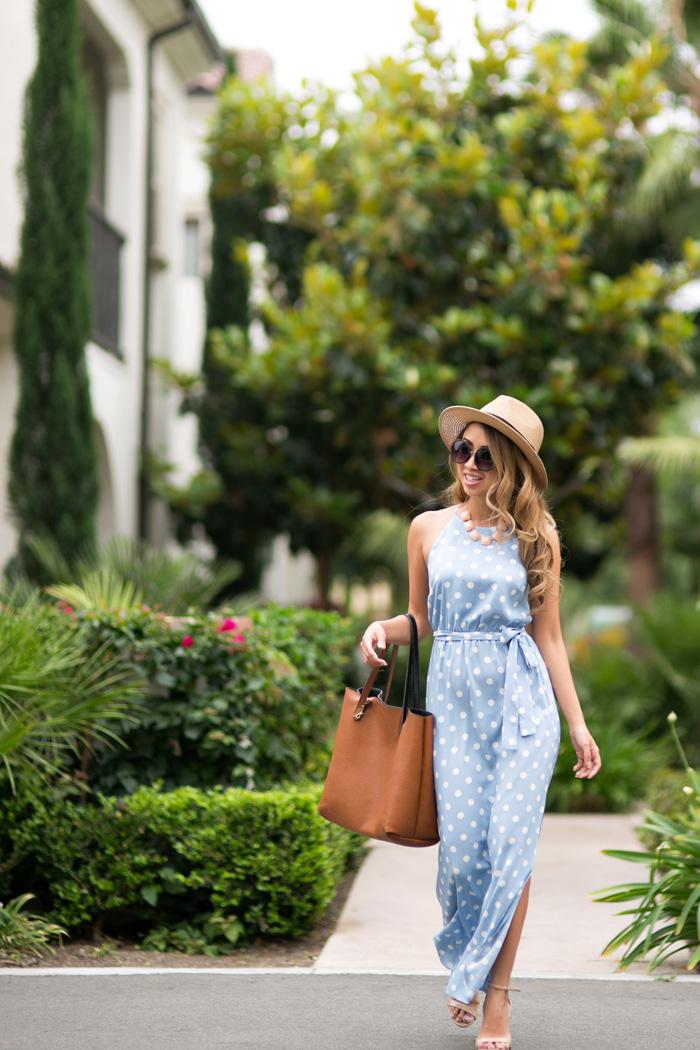 Lace And Locks Petite Fashion Blogger Polka Dot Maxi Dress 05