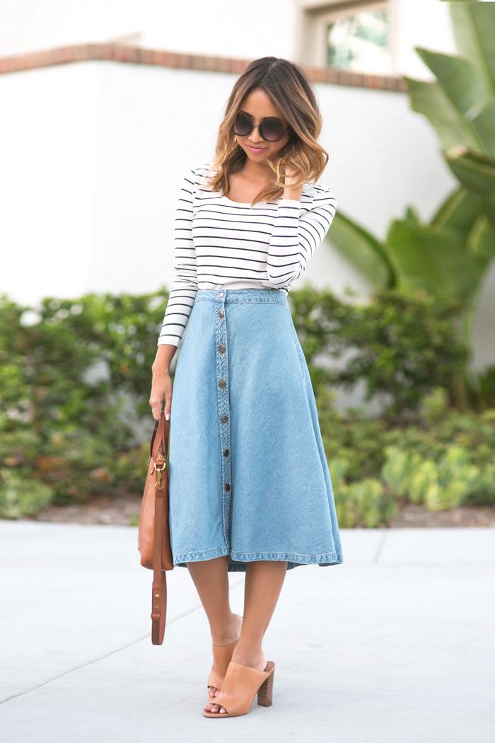 a12f22ffb9 lace and locks petite fashion blogger denim midi skirt – 02 – Lace ...