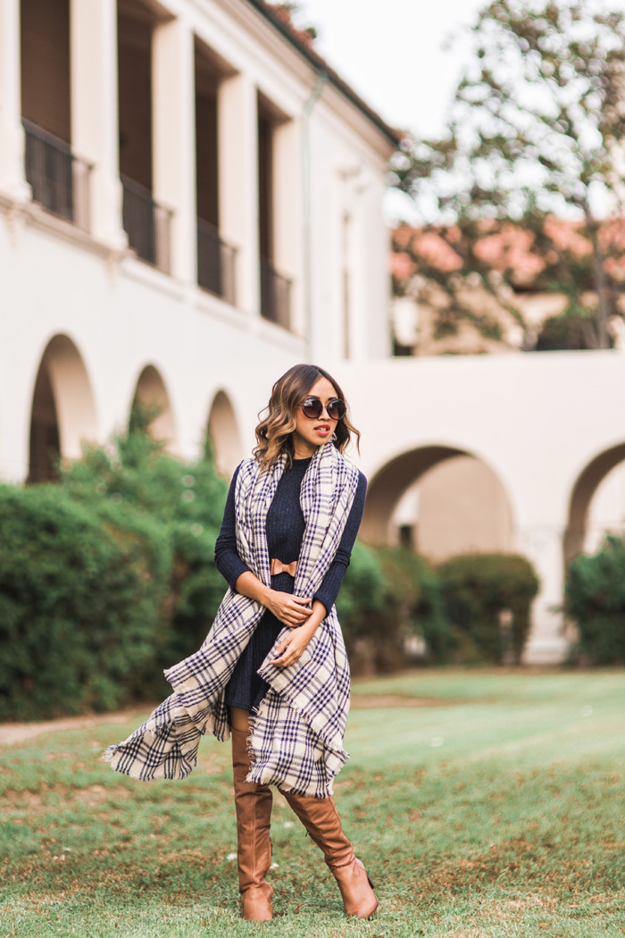 petite fashion blog, lace and locks, los angeles fashion blogger, sweater dress, plaid blanket scarf, fall fashion, brown over the knee boots, orange county blogger