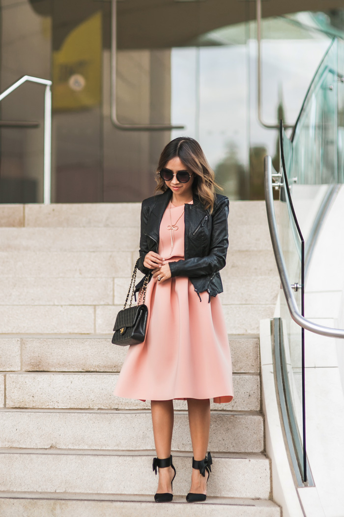 lace and locks petite fashion blogger pink dress and leather jacket outfit - 07