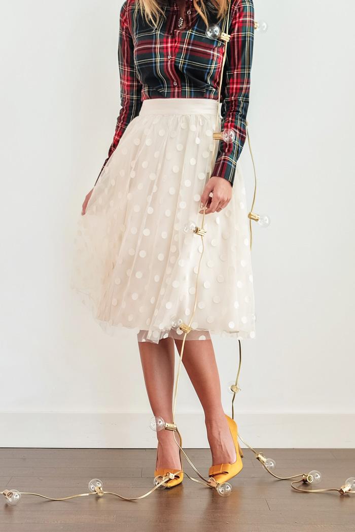 petite fashion blog, lace and locks, los angeles fashion blogger, polka dot tulle skirt, plaid shirt, bow heels, holiday outfit ideas, oc fashion blogger, holiday skirts for women, cute tulle skirts