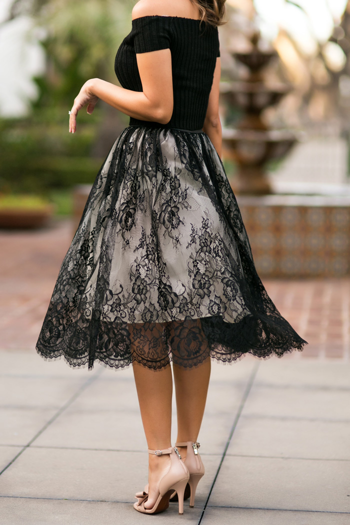 petite fashion blog, lace and locks, los angeles fashion blogger, morning lavender black lace skirt, cute lace skirts, valentine's day outfit, diamond earring giveaway, atheria jewelry