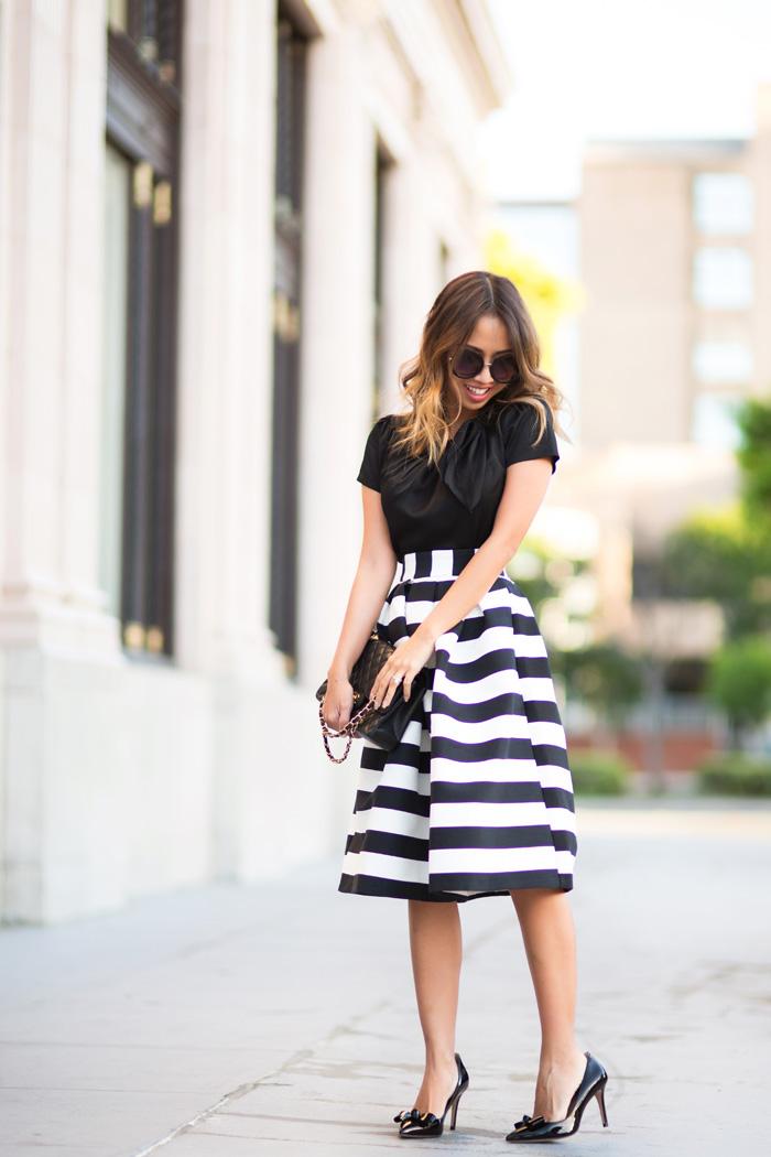 Black And White Striped Midi Skirt - Skirts